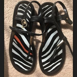 Jimmy Choo animal print striped rubber sandals 36